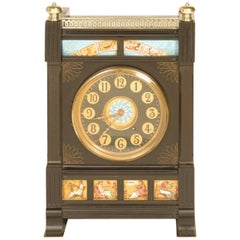 Aesthetic Movement Zodiac Black Marble Mantle Clock with Gong-Striking Movement