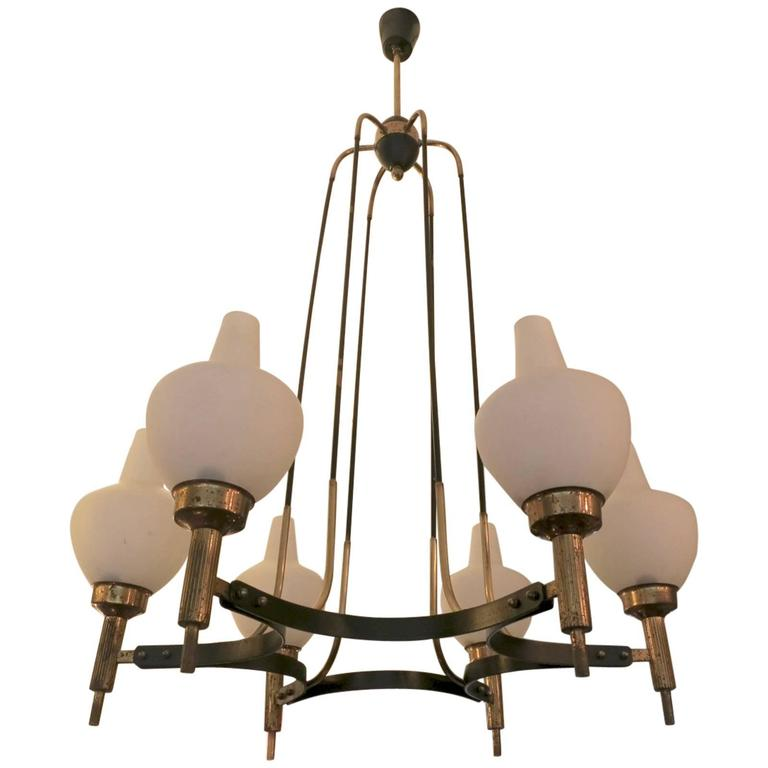 Italian Mid-Century Brass and Opaque Glass Chandelier