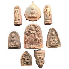 Collection Burmese Antique Buddhist Prayer Offering Votives Eight Pieces