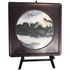 China Large Mountains and Clouds Natural Dreamstone Painting Custom Frame