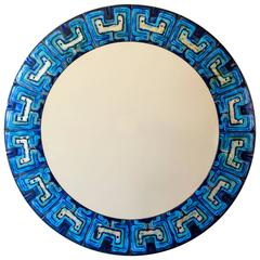 Bodil Eje, Unique Turquoise and Persian Blue Mid-Century Circular Enamel Mirror