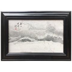 China Extraordinary Natural Stone Painting, White and Gray Mountains one of kind