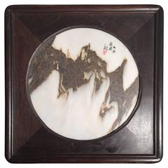 Round Chinese Natural Stone Painting Jagged Mountain Peaks one of a kind signed