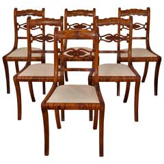 Set of Six Dining Chairs, Biedermeier, Germany, 1830, Burled Walnut by Knussmann