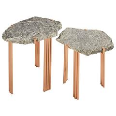 'Pathway' Set of Two Tables with Rare Hard Stones by Taher Chemirik - In Stock