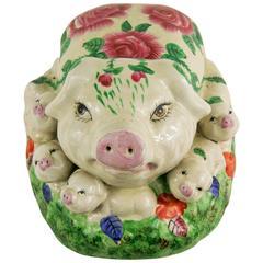 Ceramic Pig with seven Pigletes