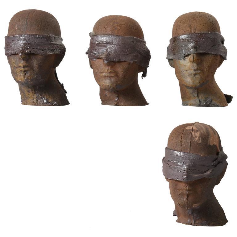 Set of Four Ceramic Heads by Tony Hepburn, 1980s