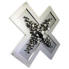 Greg Copeland Chrome Wall Art Mirror Sculpture Signed, 1977
