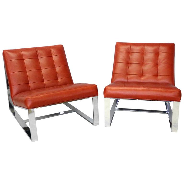 Pair of Milo Baughman Red Leather Armless Lounge Chairs For Sale