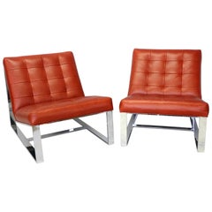 Pair of Milo Baughman Red Leather Armless Lounge Chairs