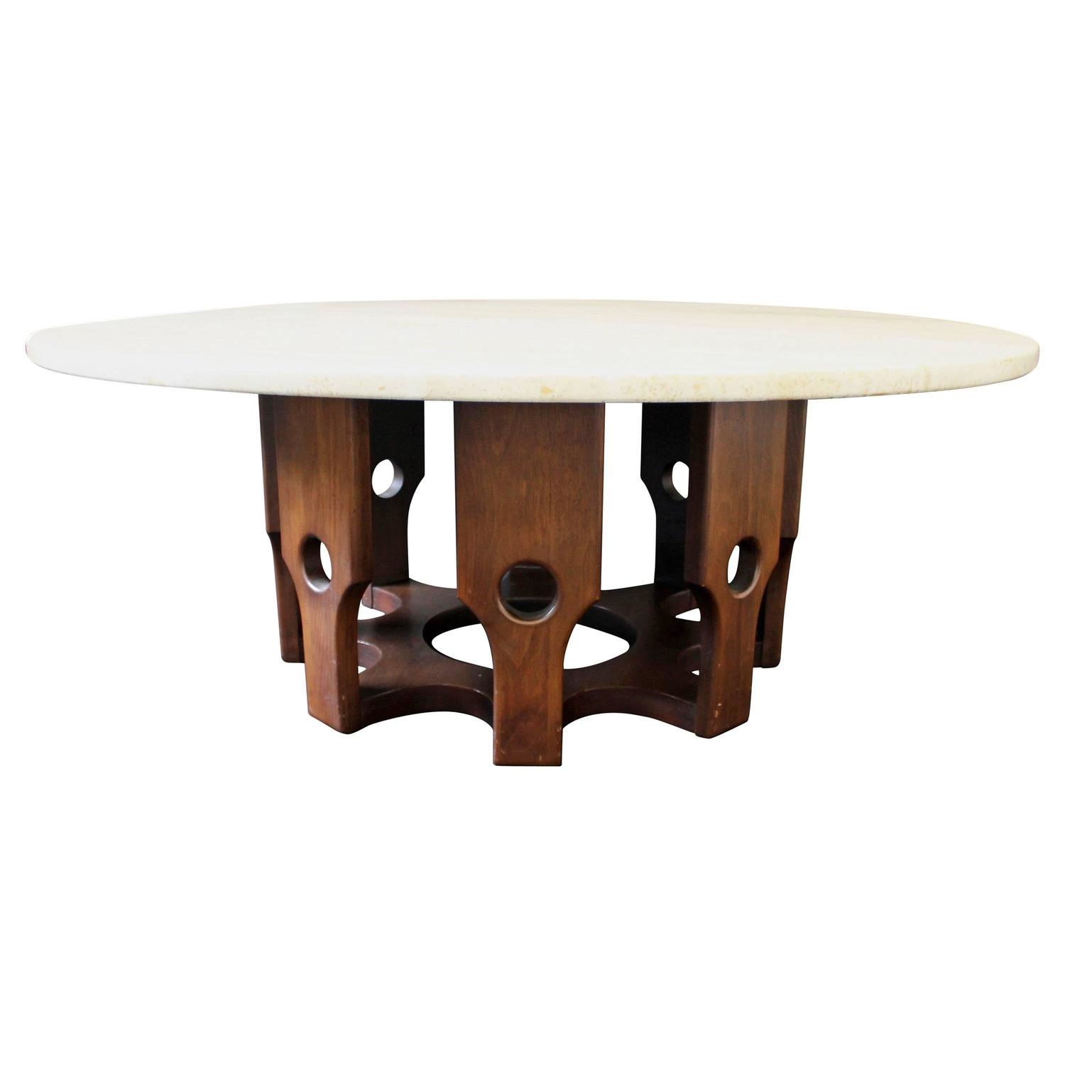 Wood Base Round Travertine Top Coffee Table Attributed To