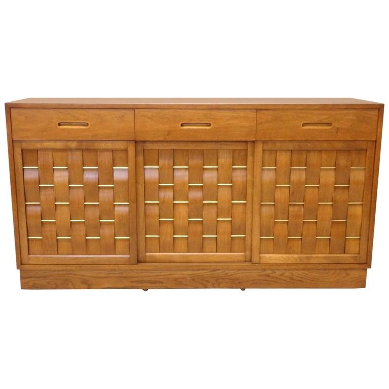 Edward Wormley Dunbar Woven Front Credenza For Sale