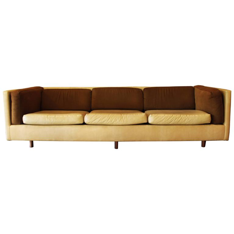 Harvey Probber Suede Leather Brown Beige Sofa For Sale At