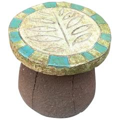 Stan Bitters Low Ceramic Leaf Motif Stool/Side Table