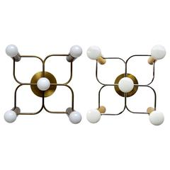 Set of Three Sculptural Ceiling or Wall Flush Mounts Chandeliers by Leola, 1960s