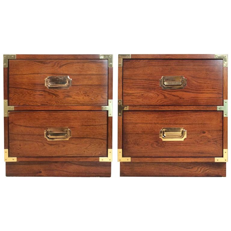 Pair Of Walnut And Brass Campaign Style Nightstands 1