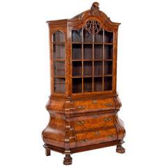 Quality Burr Walnut Bombay Display Cabinet