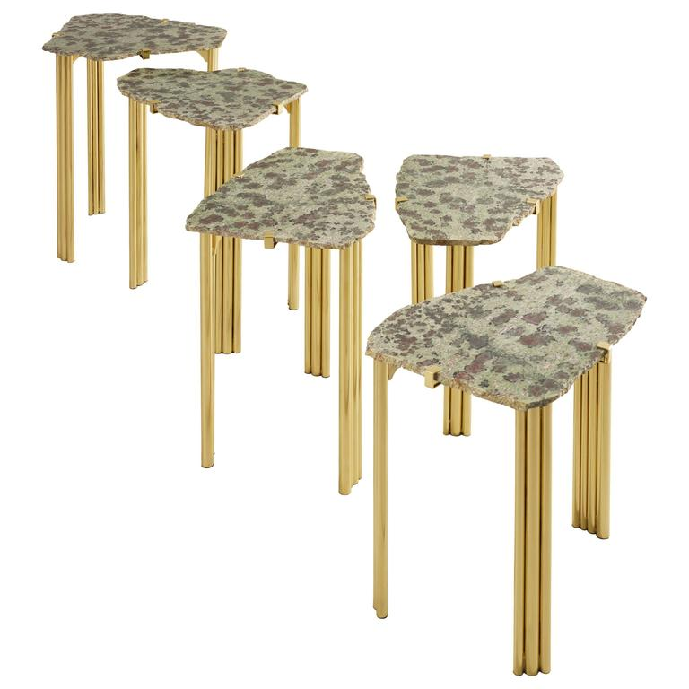'Pathway' Set of Five Tables with Rare Hard Stones by Taher Chemirik  For Sale