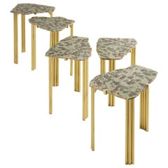 'Pathway' Set of Five Tables with Rare Hard Stones by Taher Chemirik