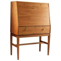 Mid-Century Scandinavian Bar Cabinet in Teak with Brass Details