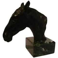 Fantastic Detailed Horse Bust Bronze Sculpture Signed U. Rossi, 1917