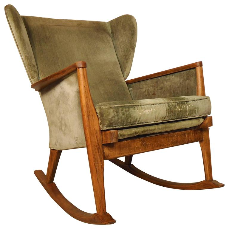 parker knoll wingback rocking chair for sale at 1stdibs. Black Bedroom Furniture Sets. Home Design Ideas