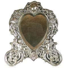 Victorian Sterling Heart Formed Dressing Mirror