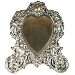 Victorian Sterling Heart Formed Dressing Mirror