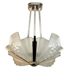 French Art Deco Pendant Chandelier by Atelier Petitot