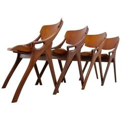 Set of Four Arne Hovmand Olsen Teak Dining Chairs for Mogens Kold, 1950s