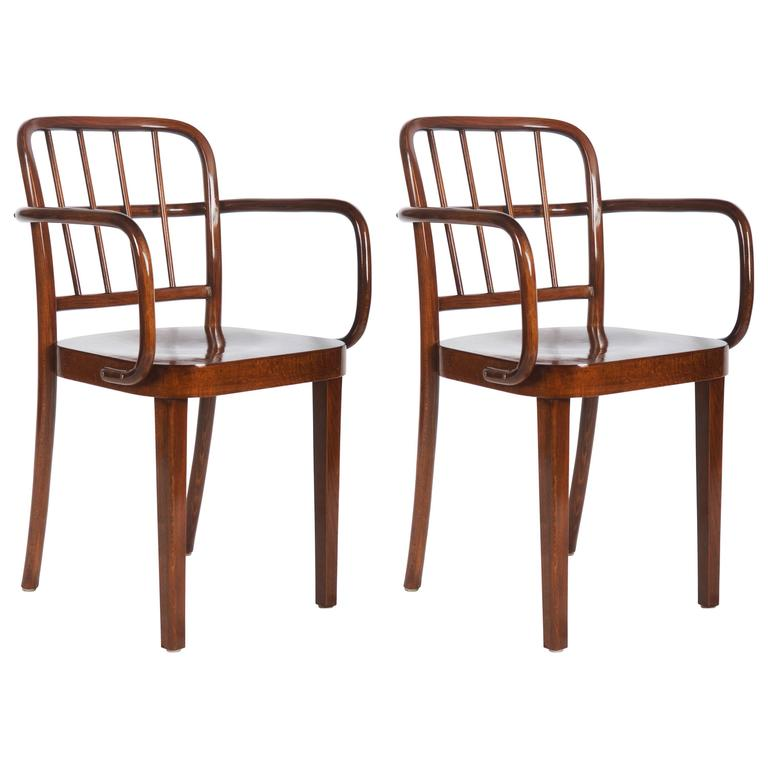 Set of Two Thonet Dining Armchairs by Josef Frank