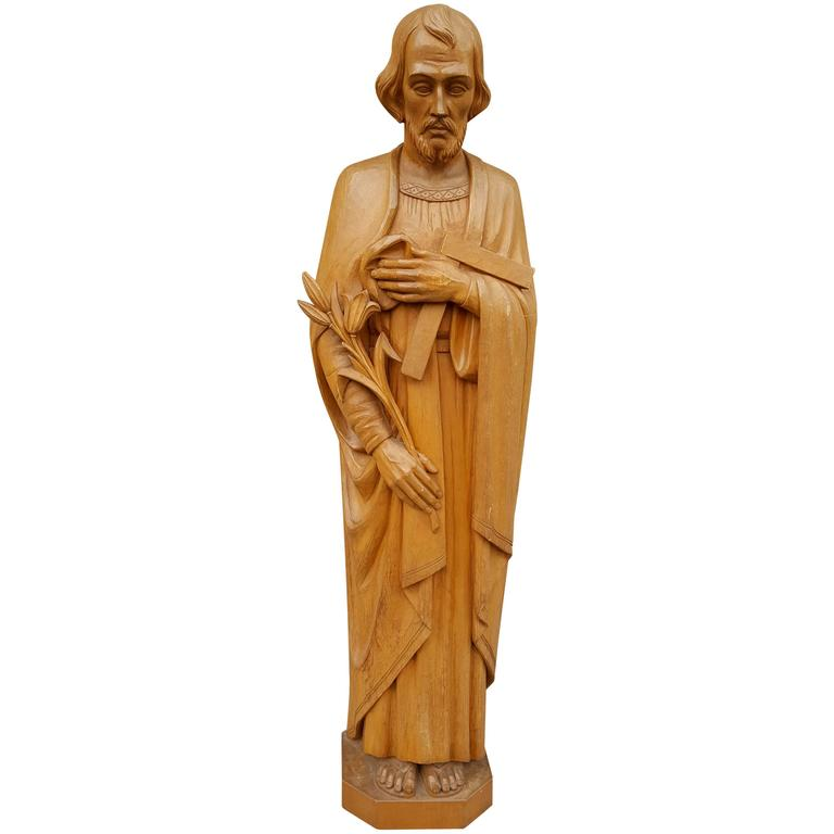20th Century Carved Wood Religious Figure,'Joseph' Italy