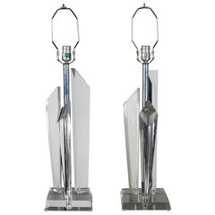 Pair of Lucite Mid-Century Modern Lamps