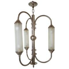 French Art Deco Nickeled Bronze Pendant Light