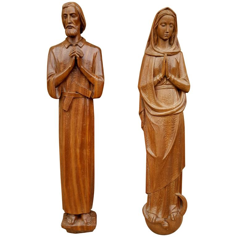 Pair Of Italian Carved Wood Religious Wall Plaques High Relief Circa 1930s For