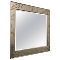 1980s Large Silver Chinoiserie Beveled Mirror by La Barge
