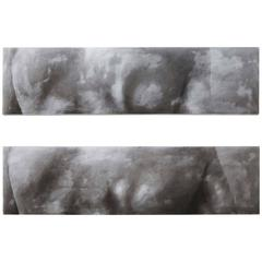 Set of 2 Large Contemporary Monochromatic Nude Abstract Paintings