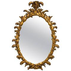 1960s Carved Giltwood Italian Oval Mirror