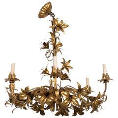 Italian 1960s Gilt Metal Floral Chandelier