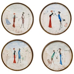 Four Italian   Hand-Painted Ceramic Plaques in Brass Frames by Palladio