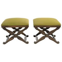Pair of Italian Carved Wood X-Benches
