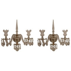 Pair of Caldwell Georgian Style Cut Crystal and Gilt Bronze Sconces