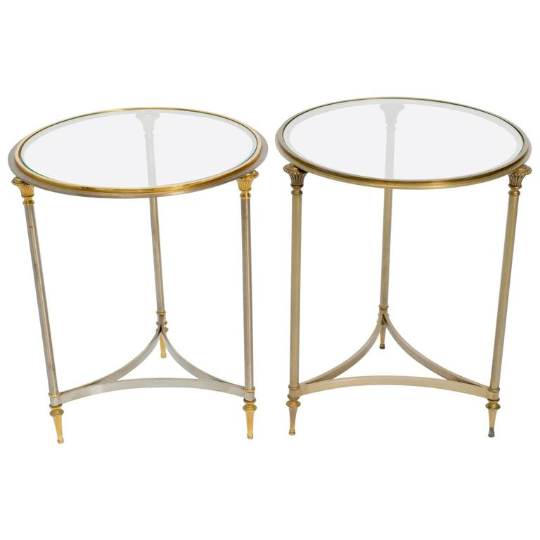 Pair of Steel and Brass Circular Side Tables