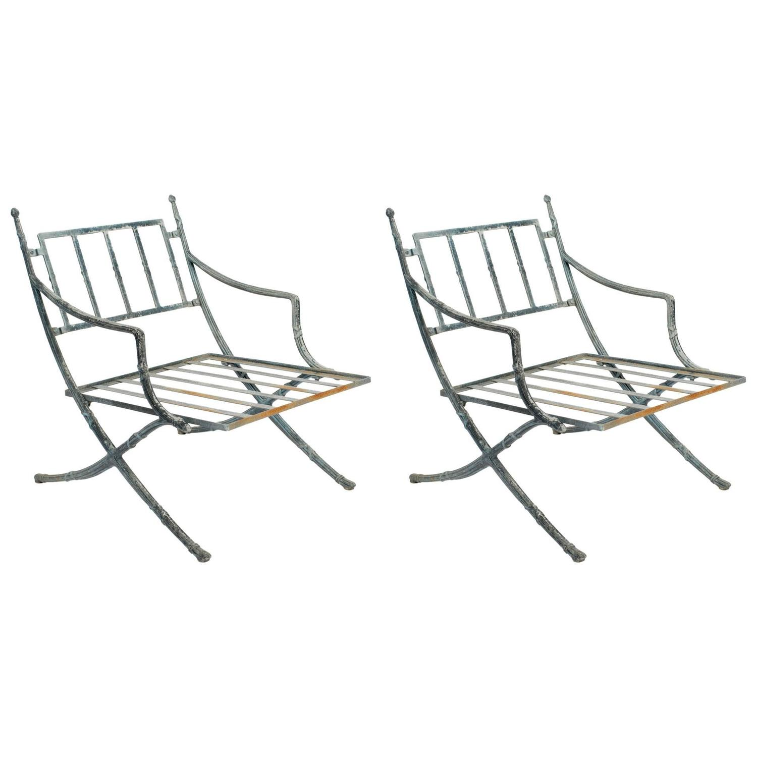 Outdoor Metal Furniture For Sale: Pair Of Classical Metal Outdoor Chairs For Sale At 1stdibs
