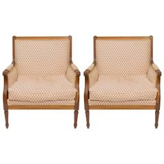 Pair of French Oversized Lounge Chairs