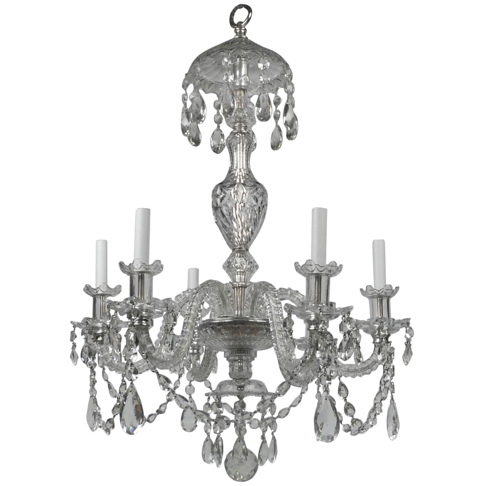 Georgian Style Cut Crystal Six Light Chandelier, by E. F. Caldwell