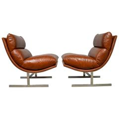 """Kipp Stewart Pair of Leather """"Arc"""" Chairs for Directional"""