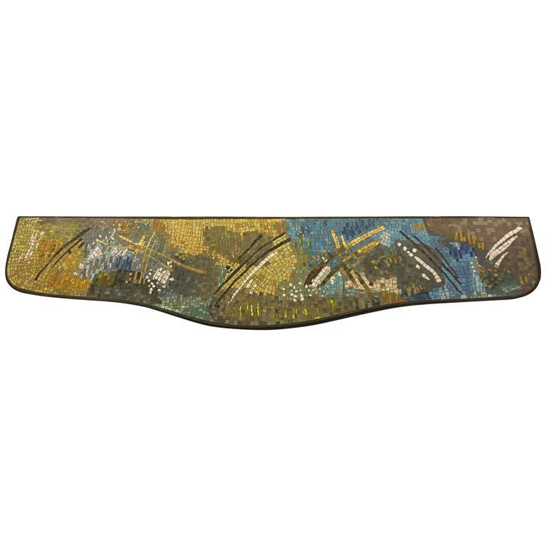 Abstract Mid-Century Italian Mosaic Console, Style of Gio Ponti