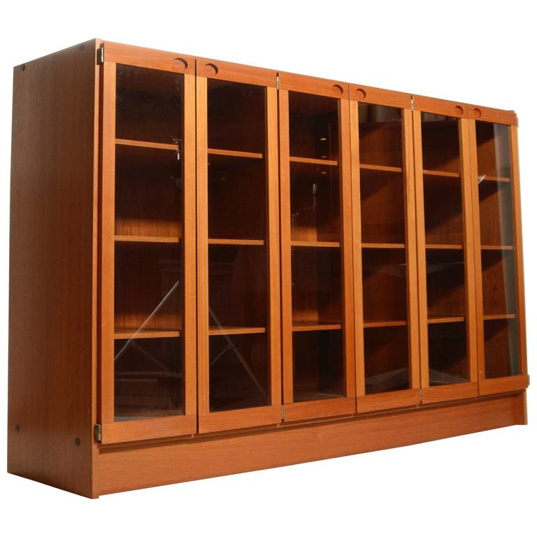 Danish Rosewood Bookcase Or Display Cabinet With Glass Doors For