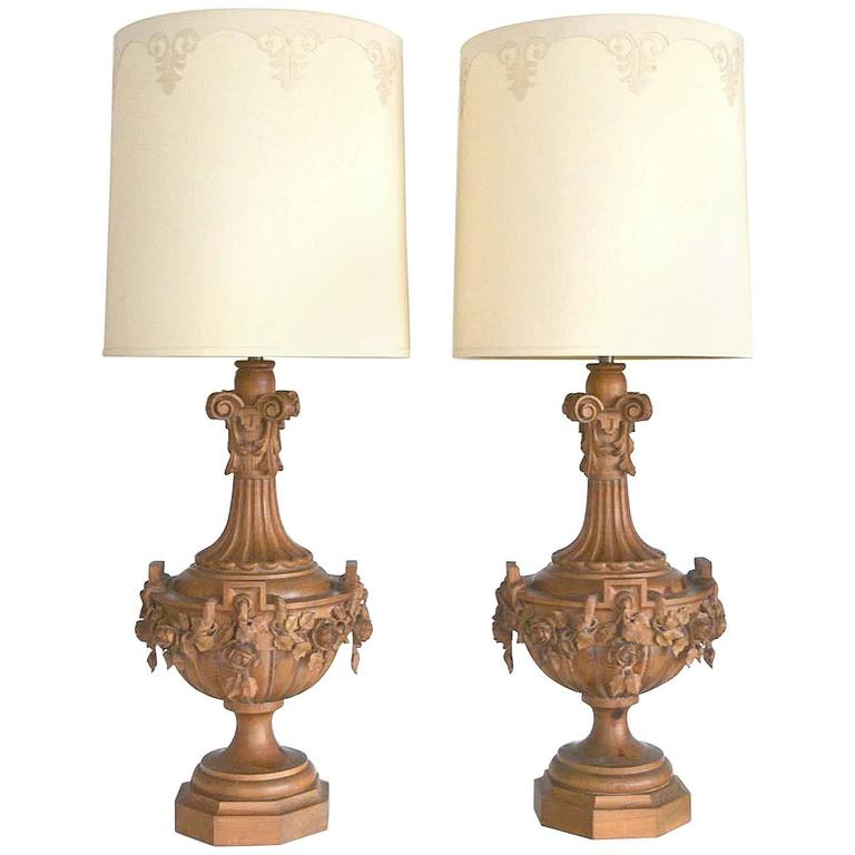 pair of hollywood regency carved wooden urn form table lamps by marbro for sa. Black Bedroom Furniture Sets. Home Design Ideas